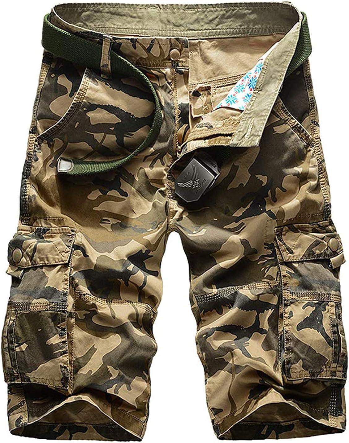 PAODIKUAI Men's Casual Loose Fit Multi-Pockets Camouflage Print Cargo Shorts Summer