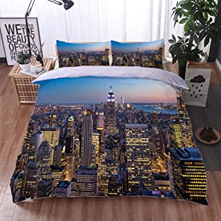 VROSELV-HOME Kids Quilt 3 Piece Bedding Set,New York City Aerial Skyline at Dusk USA,Soft,Breathable,Hypoallergenic,Bedding Sets,1 Duvet Cover,1 Pillowcase