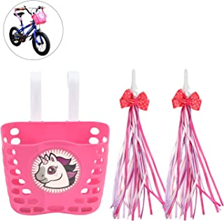 Little World Kids Bike Basket, Front Handlebar Bicycle Basket with 1 Pair Bike Streamers Bike Accessories for Girls and Boys