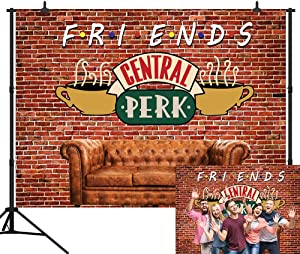 CapiSco 7X5FT Central Perk Friends Tv Show Theme Party Backdrop Red Brick Wall Retro Pub Sofa and Coffee Photography Background for Adult Birthday Ball Party Decorations Portraits Photoshoot SCO145B