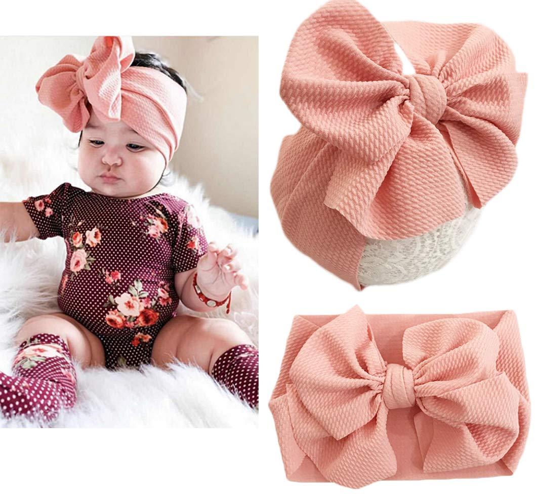 Baby Girl DIY Elastic Headbands Newborn Infant Toddler Big Bows Hairband Children Soft Headwrap Hair Accessories (Black - Multicolor)
