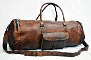 🌞 Sale! KC Handmade Pure Leather Duffel Travel Gym Overnight Weekend Leather Bag Classic Round Eco-Friendly Bag | Duffel Hand Luggage | with Free Shipping | Stock Limited