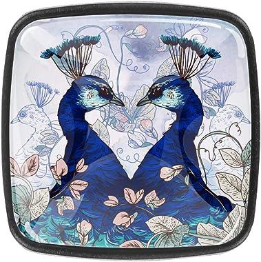 Floral Twin Peacock Pattern Kitchen Cabinet Knobs Drawer Knobs Drawer Pulls Door Knobs for Office Bathroom Cabinet Dresser Cu