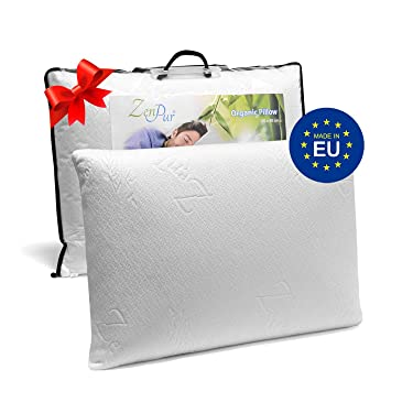 Memory Foam Pillow 60 x 40 cm – Pillow Memory Foam Made in EU – Ergonomic Pillow, Front Sleeper Pillow, Side Sleeper Pillow – Zippered Organic Bamboo Washable Cover – 5 Years Warranty