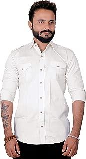 REBANTA Mens Casual Shirt Plain Cream Full Sleeves Double Pocket