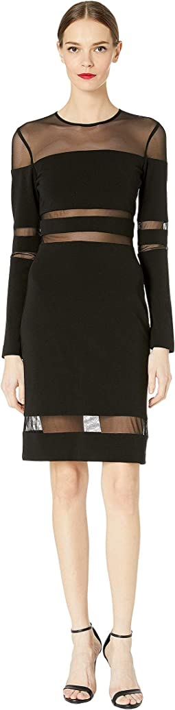 Structured Heavy Jersey Mesh Combo Dress
