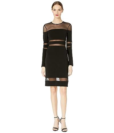 Nicole Miller Structured Heavy Jersey Mesh Combo Dress (Black) Women