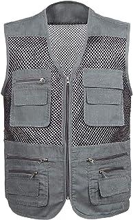 XINHEO Men Summer Multi Pockets Sport Outdoor Oversized Travel Vest Jacket