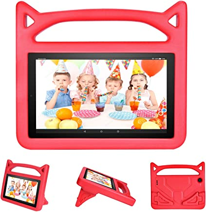 All-New Fire HD 8 Case for Kids, DICEKOO Light Weight Shock Proof Convertible Handle Friendly Stand Kid-Proof Protective Cover Cases for Amazon Fire 8 inch Display Tablet(2016&2017 Release) Red
