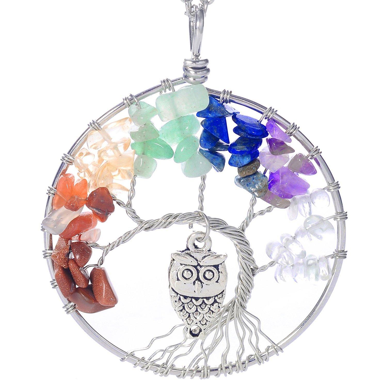 Gemstone Chakra Jewelry Red Orange Silver Chain Necklace Luvalti Tree of Life