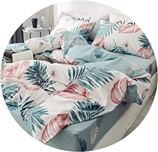 Floral PrintUltra Soft Twin Queen Bedding Set King Size Bed Fitted Sheet Kids Girls Bed Set Duvet Cover Pillowcases,Bedding Set 9,Queen Size 4pcs,Bed Sheet Style