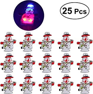 LUOEM 25 Pcs Christmas Brooch Pins LED Brooch Snowman Badge Brooch Christmas Light Up Party Favors for Children Holiday Party Gift