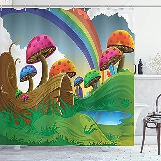 ABAKUHAUS Mushroom Shower Curtain, Sunny Playful Foliage, Cloth Fabric Bathroom Decor Set with Hooks, 175 cm x 240 cm, Mul...