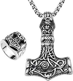 Zysta Thor's Hammer Norse Mythology Legendary God War Weapon Pendant Necklace + Ring Stainless Steel Jewelry