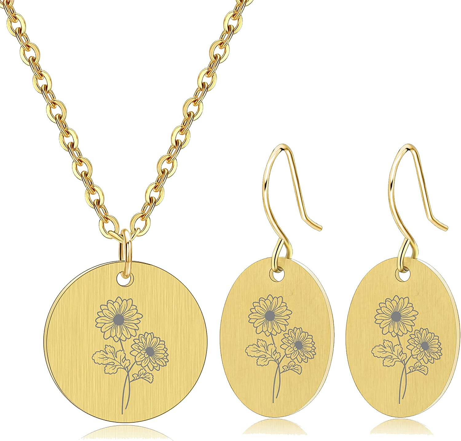 Birth Month Flower Pendant Necklace Earrings Set Coin Pendant Jewelry Set Personalized Gift for Women & Girls Gifts for Her