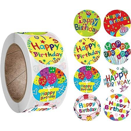 Buon Compleanno Adesivi Adesivo Ricompensa di Buon Compleanno Etichette di Carta Rotonde per la Decorazione della Festa di Compleanno di Natale