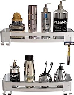 Vdomus No-Drilling Shower Shelf for Bathroom 2-Pack, Rustproof Aluminum Bathroom Storage-Organizer with Razor Hooks