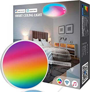 OHLUX Bedroom Ceiling Light, 1800LM WiFi Smart Music Sync Ceiling Lamp Compatible with Alexa Google Home, Superbright RGB for Bedroom Living Room Hallway Light Fixtures Decor, 12Inch 18W Round