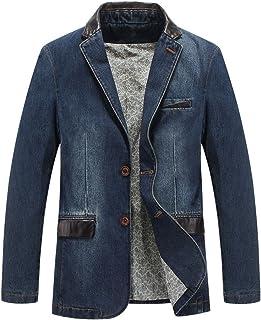 Luckyoung Men's 2 Buttons Leather Lapel Denim Jackets Casual Business Suits Blazer