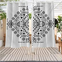 DONEECKL Mexican Outdoor Curtains Ancient Maya with Prehistoric Geometric Form Triangles Lines and Squares Print Gazebo W63 x L63 inch Black White
