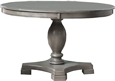 Benjara Transitional Style Round Dining Table with Pedestal Base, Gray