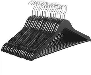 SONGMICS Hangers, 20 Pack Solid Wood Hangers, Smooth Finish, Ergonomic Design, Black UCRW02B-20
