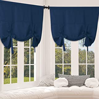 Rose Home Fashion Tie Up Curtain Blackout Curtains Innovated Tie Up Shades Thermal Insulated Rod Pocket Curtain for Windows (Navy-42by63, 2Pieces)