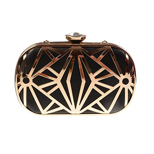 replicas quality and quantity assured exclusive range Black and Gold Clutch Bag: Amazon.co.uk