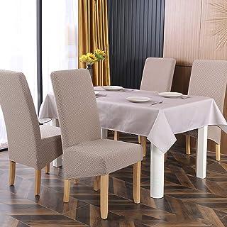 SYJ Twill Jacquard Stretch 2/4/6 Pack XL Fundas para sillas para comedor, Spandex Fundas grandes para sillas de comedor para la vida en el hogar Restaurante Hotel (4 Piezas(XL),Caqui)