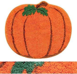 RORA Halloween Bath Rug for Kids Orange Pumpkin Shape Cartoon Bathroom Mat Plush Water Absorbent Bathtub Bathroom Doormats...