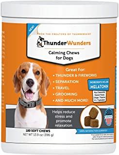 ThunderWunders Dog Calming Chews | Thiamine, L-Tryptophan, Melatonin and Ginger | Can Help Relieve Stress from Separation, Storms, Fireworks & Travel