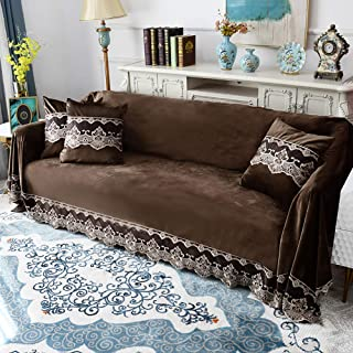Sofa cover Plush Sofa Slipcover,Vintage 1-Piece Lace Solid Color Couch Cover Anti-Slip Furniture Protector for 1 2 3 4 Seaters Sofa-Brown 200x380cm(79x150inch)