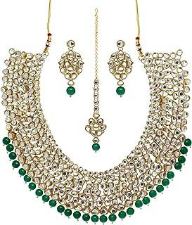 Jaipur Mart Alloy Metal Gold Plated Kundan Necklace Set with Maang Tikka for Women (KN174$P)