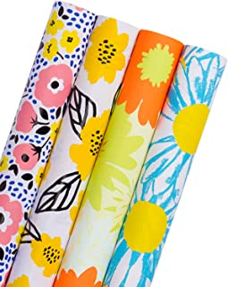WRAPAHOLIC Gift Wrapping Paper Roll - Vibrant Floral Design with Cut Lines for Birthday, Mother Day, Wedding, Easter Gift Wrap - 4 Rolls - 30 inch X 120 inch Per Roll