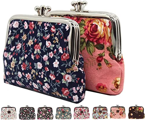 Pack of 2 Beautiful Random Prints Women s Girls Coin Debit Credit Card Money Jewellery Accessories Holder Purse Pouch Case Organiser