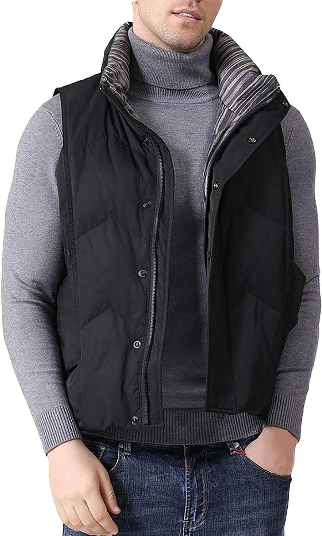 LZJDS Men's Foldable Lightweight Stand-Up Down Vest Jacket Outdoor Winter Single Down Vest Unisex