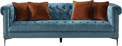 Amazon.com: Divano Roma Furniture Velvet Scroll Arm Tufted ...