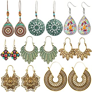 8 Pairs Vintage Bohemian Drop Dangle Earrings National...
