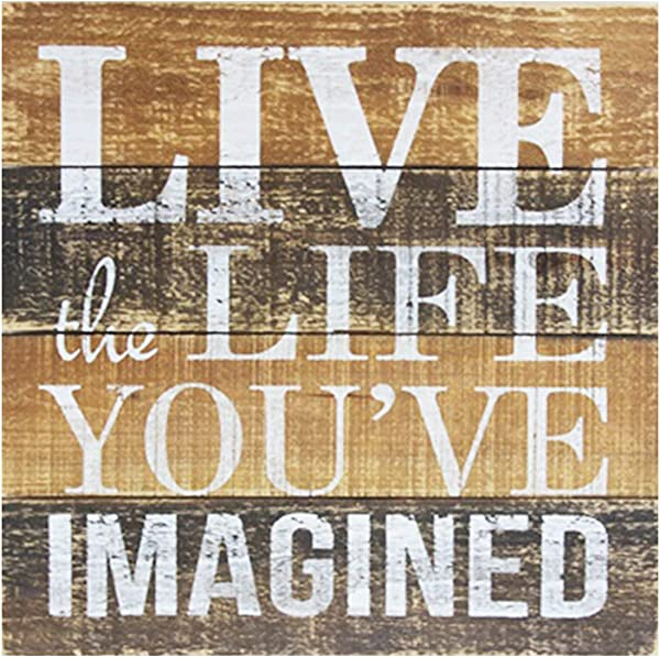 Cfmour Wood Wall Sign Live The Life You Are Imagined Rustic Vintage Home Decor Farmhouse Wooden Wall Art Pallet Plaque 15 7x15 7 Inches