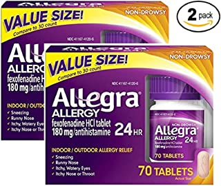 Allegra Adult 24 Hour Allergy Tablets, 180Mg, 70 Count (Pack of 2) Alx#A