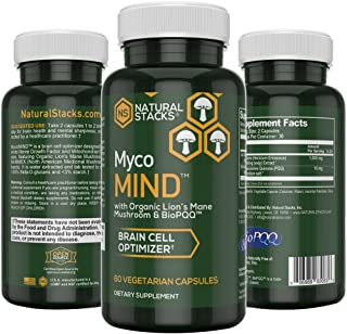 Natural Stacks: MycoMIND - Brain Cell Optimizer - 30 Day Supply - Mental Performance - May Boost Memory - Lion's Mane Mushroom Extract for Mental Clarity - BioPQQ - Extra Antioxidant Boost