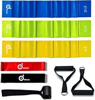 Odoland 5 Packs Resistance Bands Set, Professional Non-Latex Elastic Band Rehab Bands with Carry Bag, Ebook for Core Exercise, Physical Therapy and Upper & Lower Body Exercise
