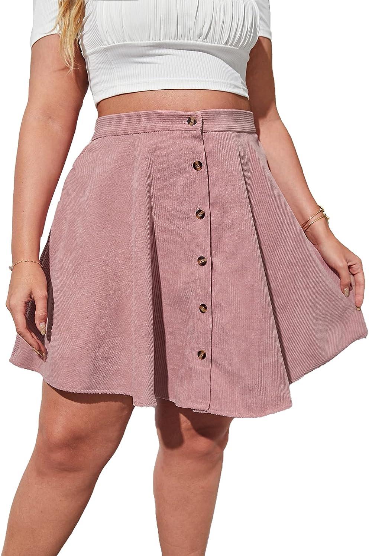 Milumia Women's Plus Size Button Front Corduroy Skater Skirt A Line Short Skirts