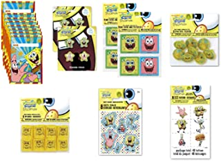 SpongeBob SquarePants Birthday Party Favor Bundle for 8 Includes Loot Bags, Tattoos, Stickers, Spin Tops, Erasers, Bagatelle Games, Springs - 56 Pieces