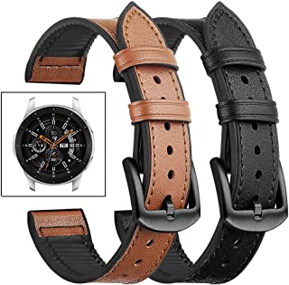 Dsytom Compatible with Galaxy Watch 46mm Bands,22mm Genuine Leather Covered Silicone Sweatproof Bracelet Sport Strap Replacement for Samsung Gear S3 Frontier or Classic(Black+Cinnamon Brown)