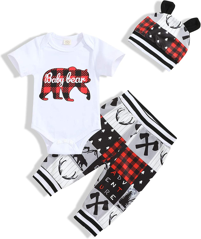 Newborn Baby Boy Clothes Cute Letter Print Romper+Long Pants+Hat 3PCS Outfits Set