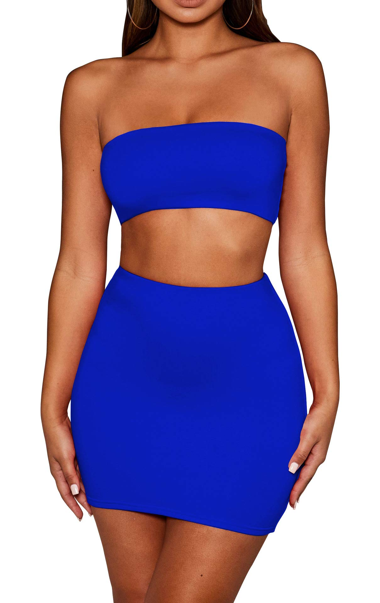 Available at Amazon: SKYVOICE Women's Sexy 2 Piece Outfits Tube Crop Top Skirt Set Bodycon Mini Dress