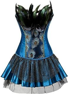 0eafe362d9 Fashion-Plus Womens Black Peacock Feather Trim Corset Overbust Waist Cincher  Bustier