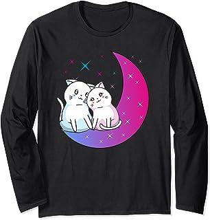 Kawaii Anime Cats Couple on Purple Moon In Love Otaku Cute Manche Longue