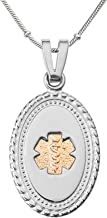 Divoti Deep Custom Laser Engraved Stainless Steel Medical Alert Necklace for Women, Premier Disc PVD G/S Tag Medical ID Necklace, Medical Pendant Tag w/Free Engraving -20/24/28